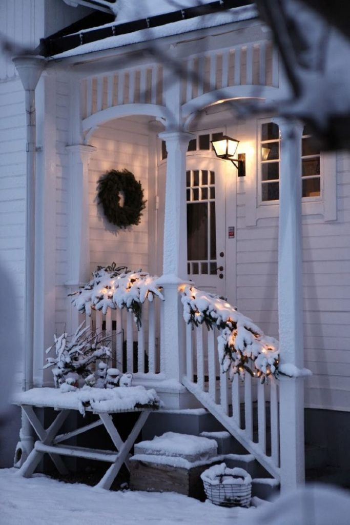 winter snow cabin porch